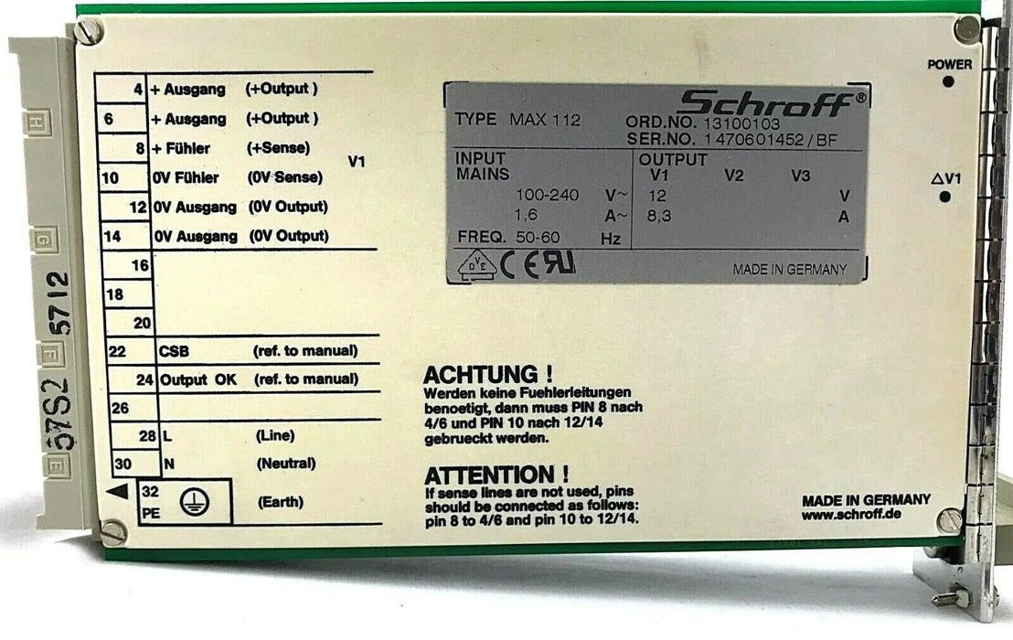 Schroff MAX 112 13100103 Blade Power Supply Axis Encoders 0192-001 Made Germany