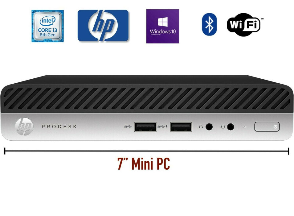 HP ProDesk 400 G4 Mini Computer Quad Core i3-8100T @3.10GHz 8GB 128GB SSD 10 Pro