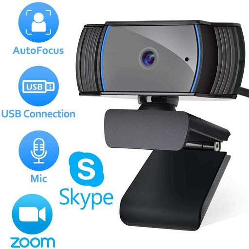 1080p Webcam Full HD Windows 10 Plug & Play with Autofocus Lens and Microphone