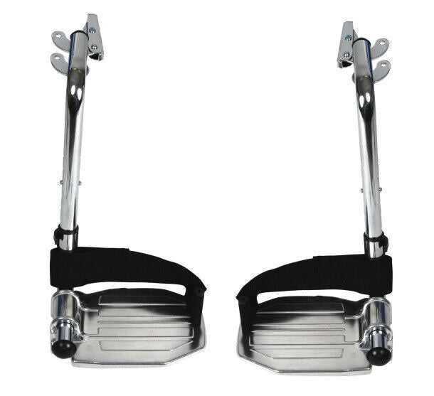 Drive Medical STDSF-TF Chrome Swing Away Footrests with Aluminum Footplates Pair