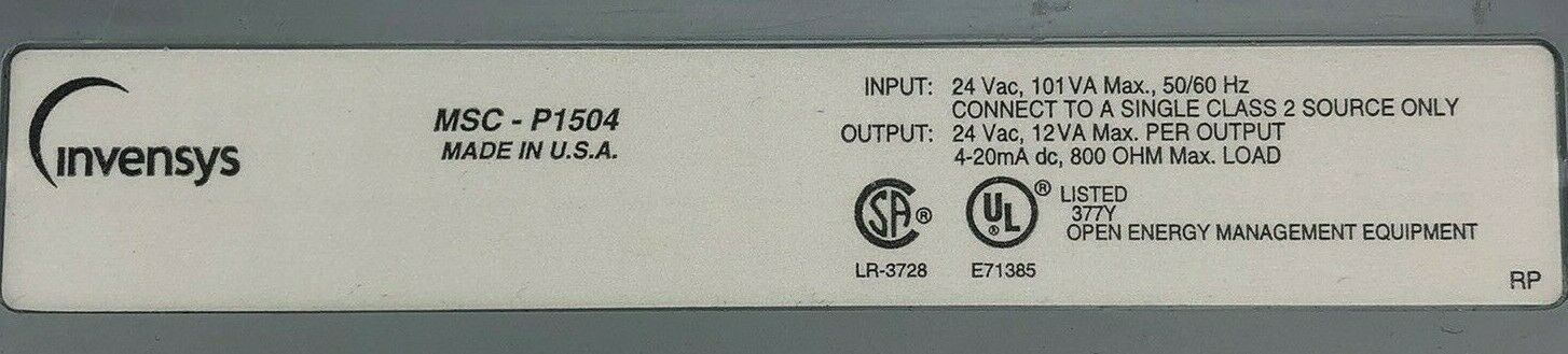 SIEBE / Invensys Environmental Controls MSC-P1504 Interface Controller