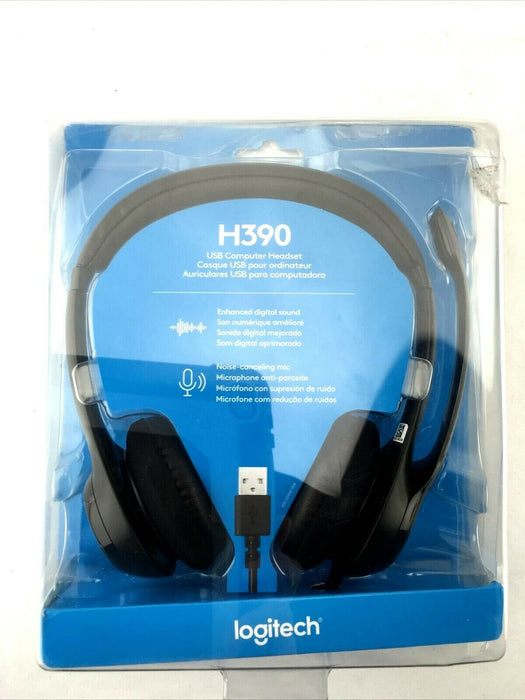 Logitech USB Headset H390 with Noise Cancelling Mic (New)