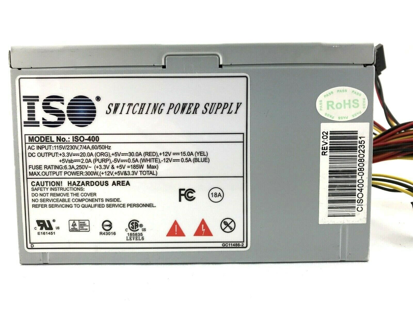 ISO-400 300W Desktop Switching Power Supply ATX PSU 115/230V 300 Watts Fast Ship