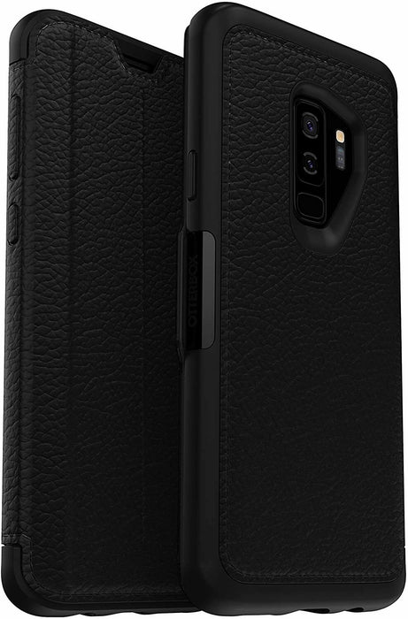 Samsung Galaxy S9+ OtterBox Strada Folio Series Case Genuine Leather- BLACK