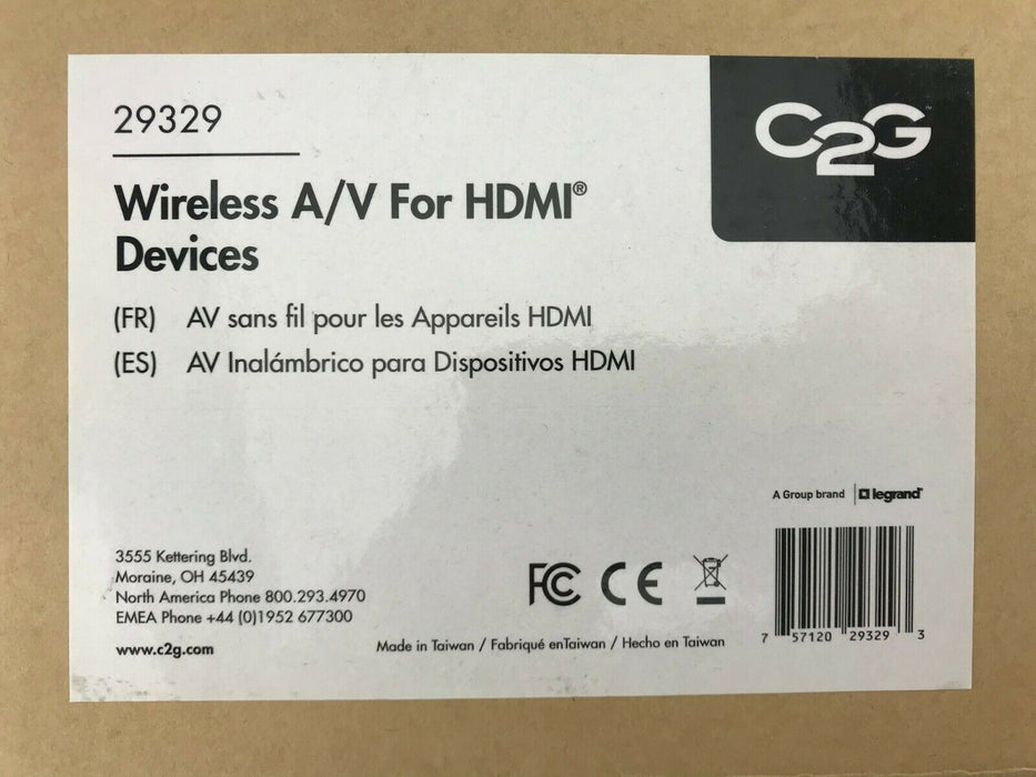 C2G 29329 Wireless A/V HDMI & Audio Transmitter & Receiver Kit - Includes Cables