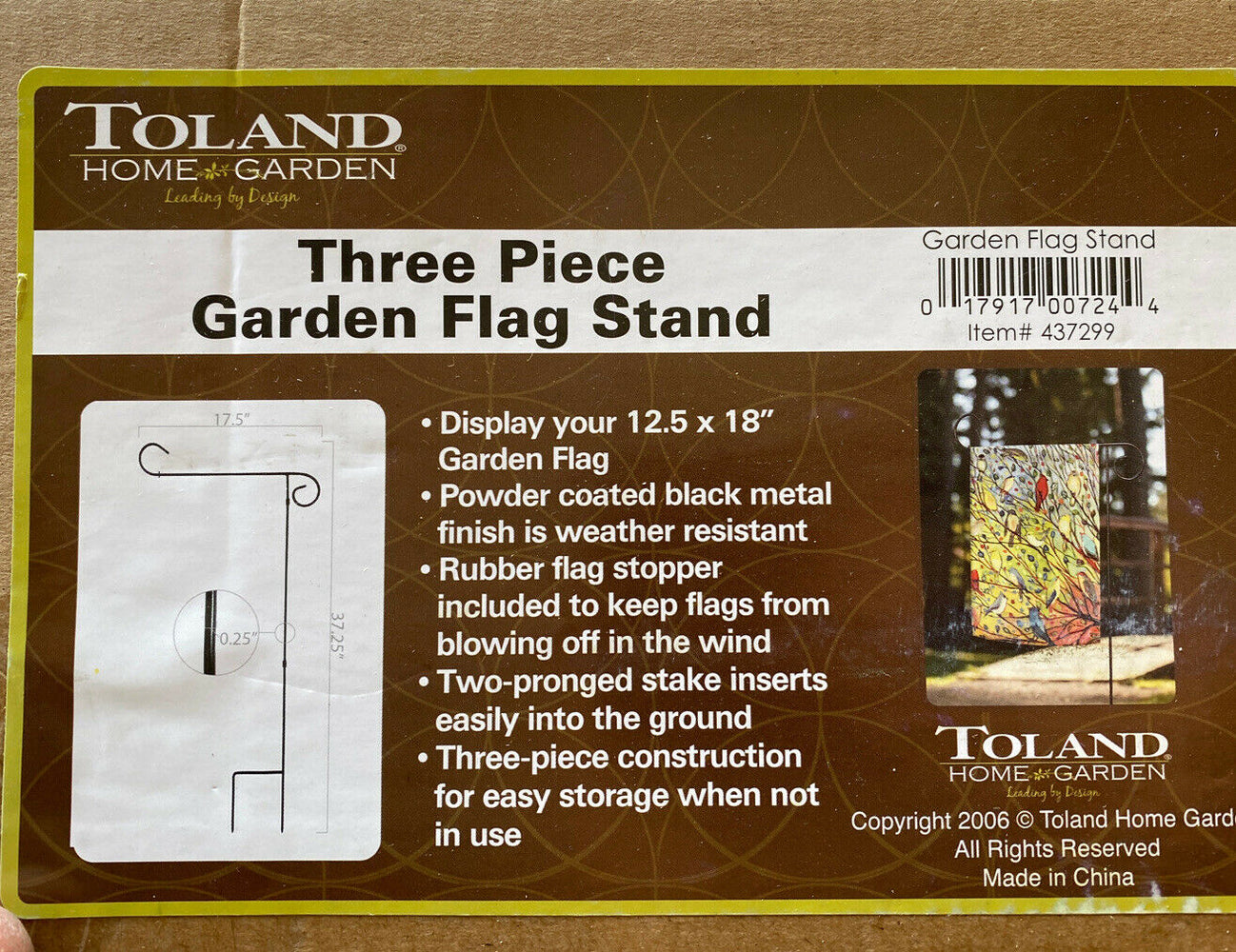 "Toland Home Garden Flag Stand Black 37"" Inch Tall Decorative 3-piece Kit"