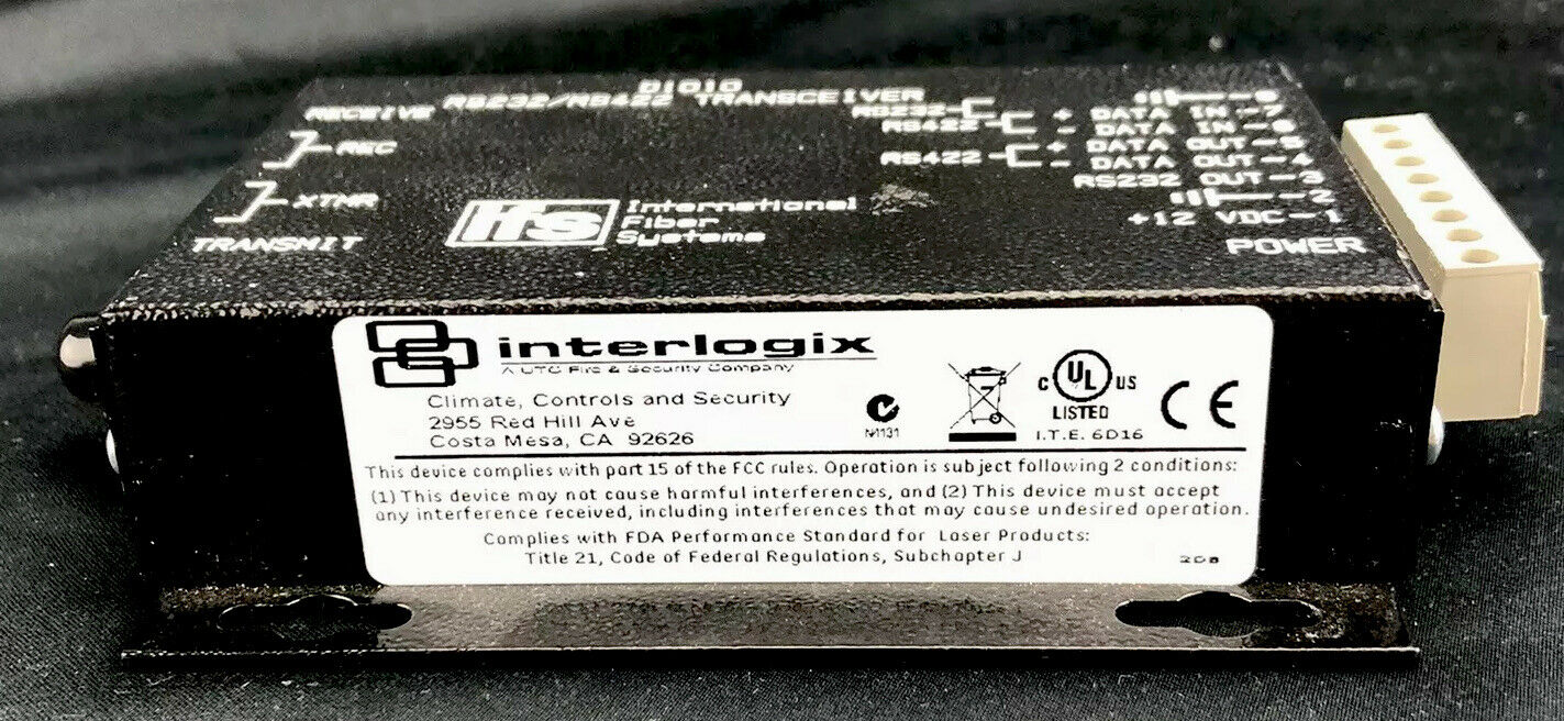 Interlogix IFS GE D1010 RS232/RS422 Data Transceiver, MM, 2 Fibers (850 nm)
