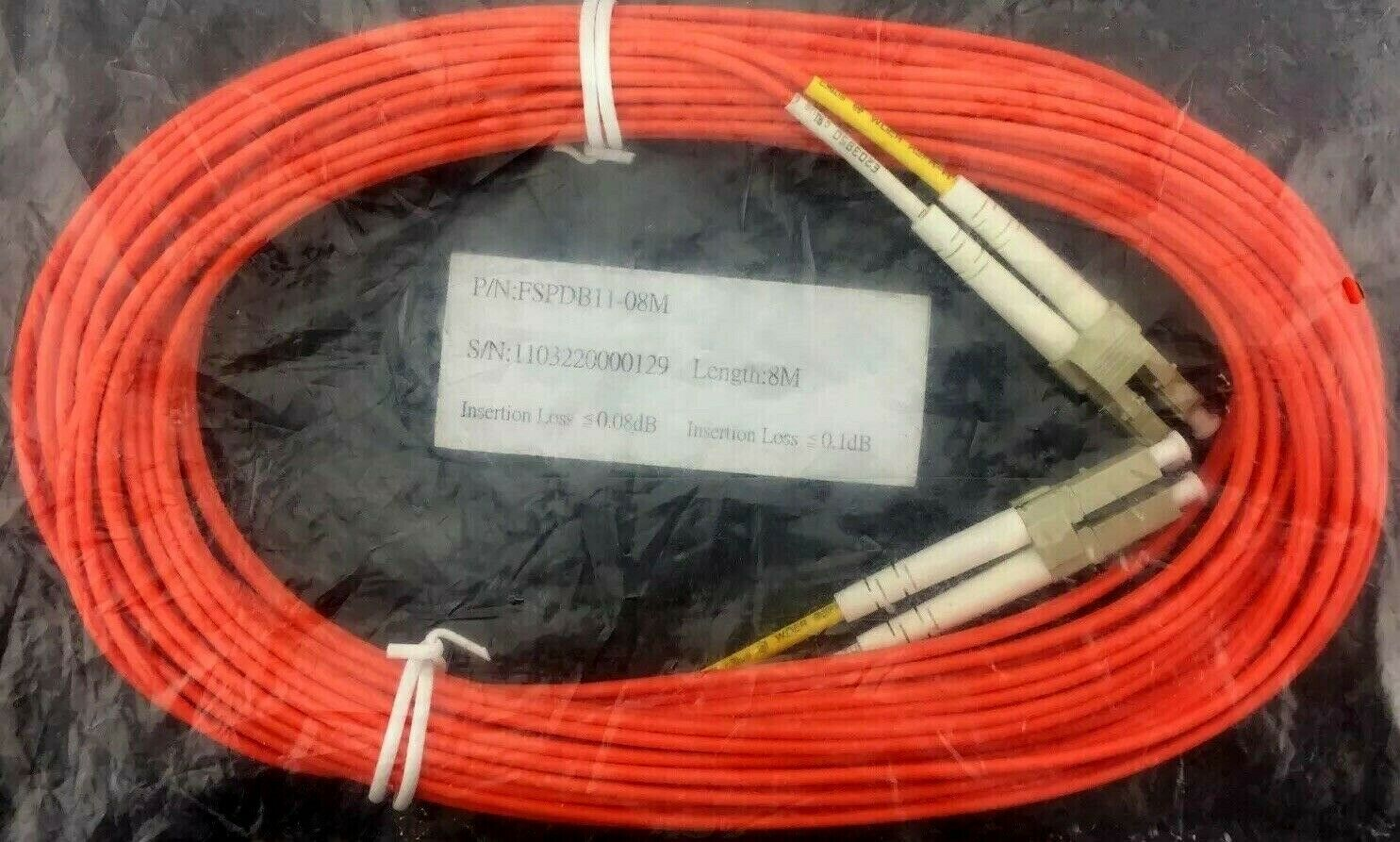 FSPDB11-08M Fiber Optic Patch Cable LC to LC Male Duplex Multimode Audio 8m/26ft