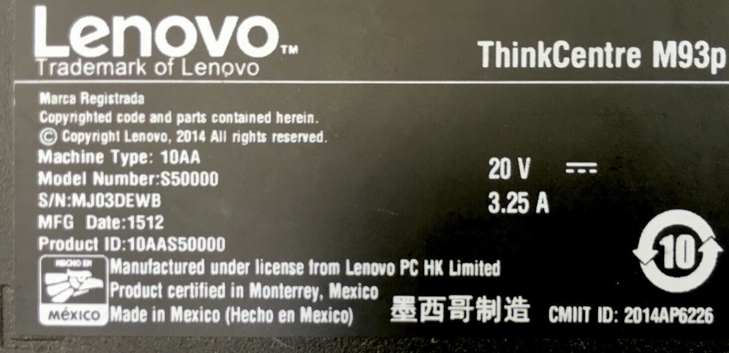 Lenovo ThinkCentre m93p Tiny, USFF, 8G/240G SSD i5-4570T 2.9Ghz, Win 10 Pro