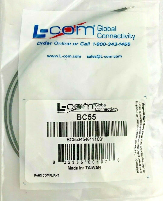 "L-Com BC55 Test Cable BNC/Coaxial Female 6"" Leads w/ Tinned End Durable Tips"