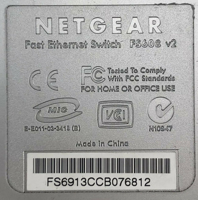 Netgear FS608 v2 Fast Ethernet Switch