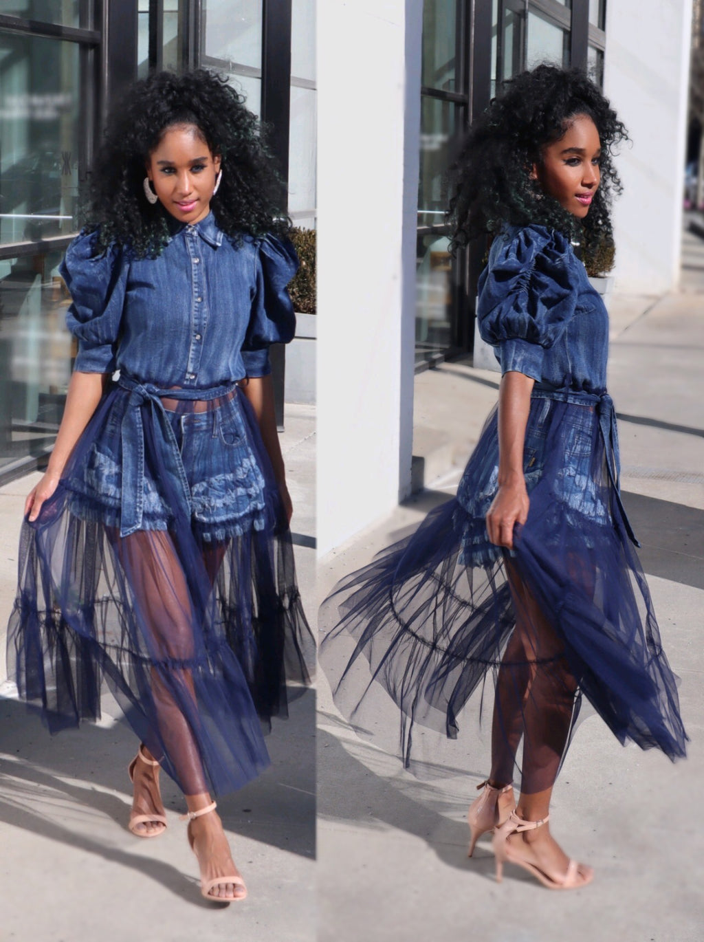 Denim Tulle Top (RESTOCKING SAT., 5/15 @ 10AM EST)