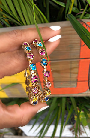 Catch the Rainbow Rhinestone Hoops