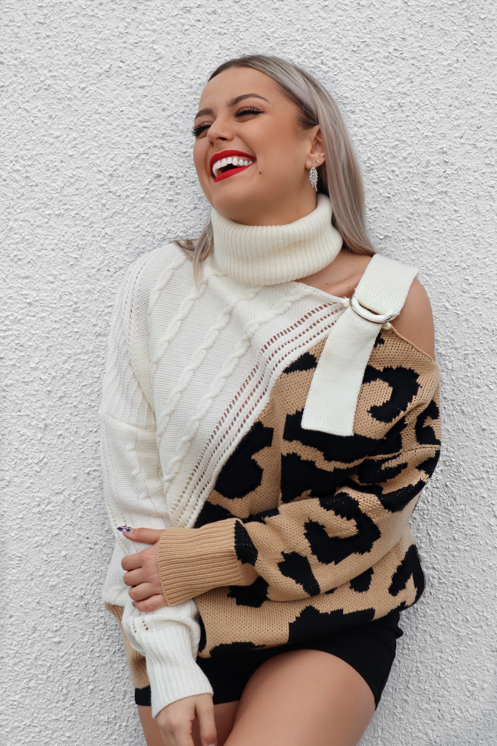 Leopard Cold Shoulder Sweater