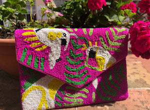 Beaded Birds Clutch w/Chain Strap