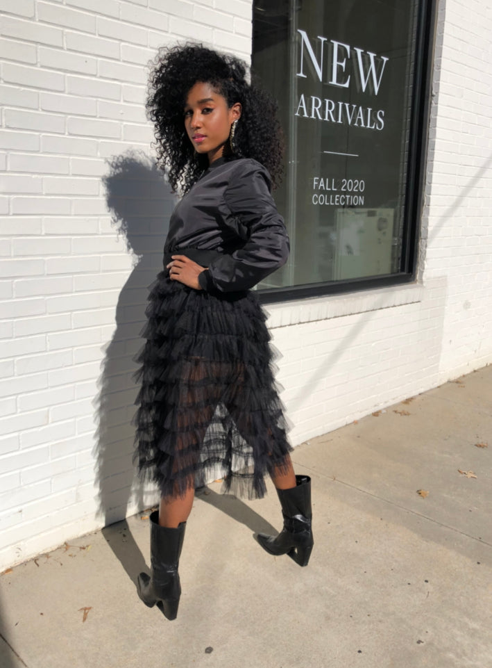 Tulle Skirt Bomber (Black)