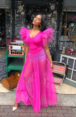 Pleated Mesh Maxi Skirt (HOT PINK)