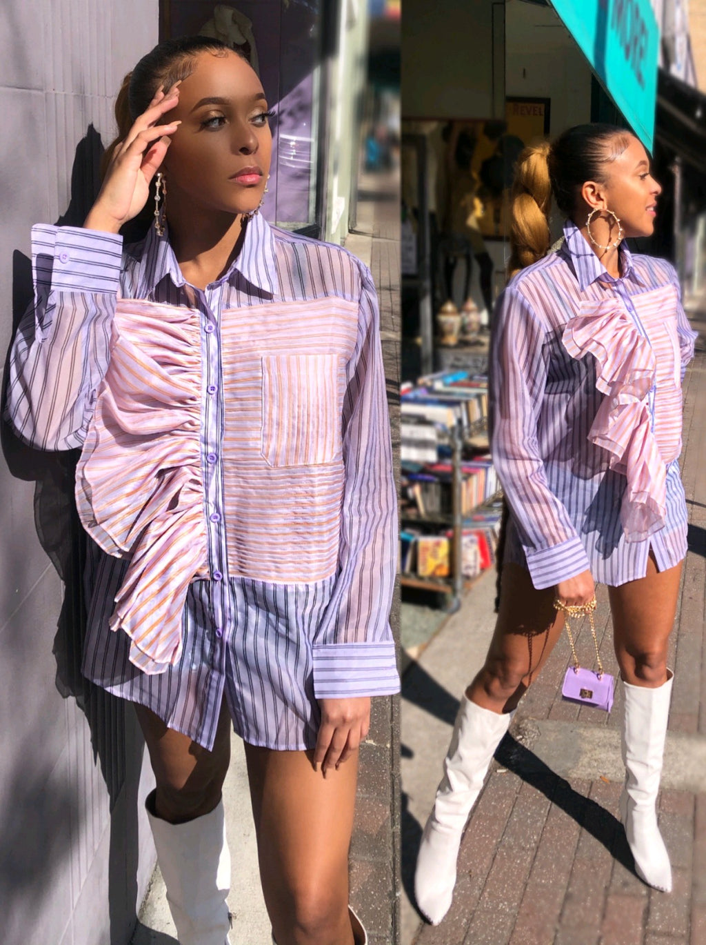 The Neda Ruffle Button Up