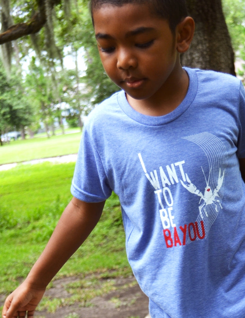 "The Heartsleeve ""I Want to Be Bayou"" blue Crawfish Shirt, part of the Bayou Collection and available for Kids and Toddlers"