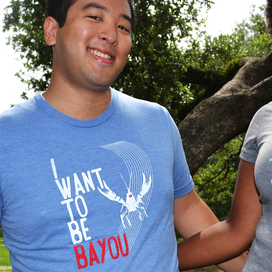 "The Heartsleeve ""I Want to Be Bayou"" blue Crawfish Shirt, part of the Bayou Collection"