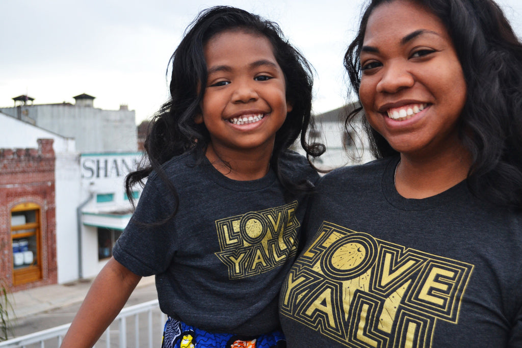 Heartsleeve Black and Gold Love Y'all Shirt with Kid sizes Available