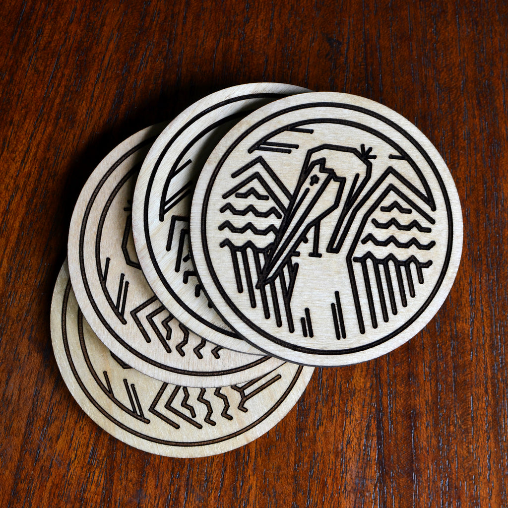 Set of 4 - the Heartsleeve Pelican Gulf Coaster - made in New Orleans and part of our Pelican Collection.