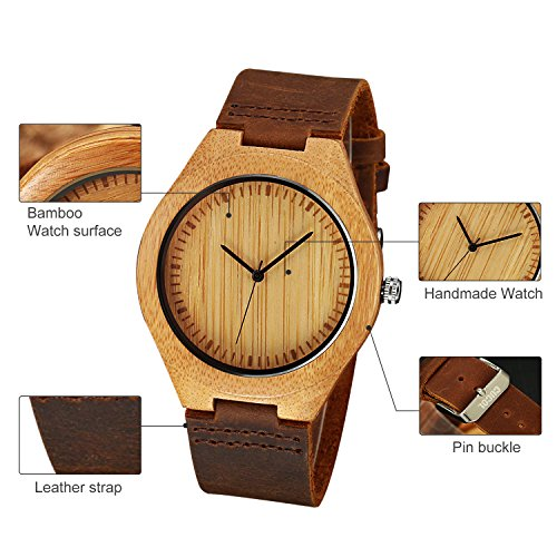 product handmade casual mens watches date colorful week display quartz watch wood men s wrist wooden