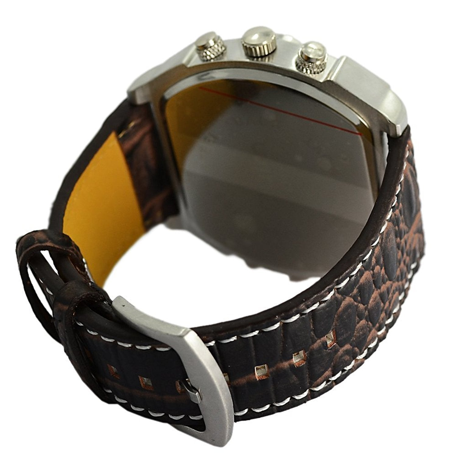 daf20d61a Quatro Gadget Watch Analog Dark Brown Leather Strap Four Sub-dials Men Watch  Compass Thermometer