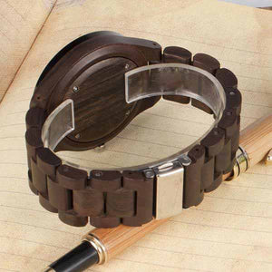 Chunk Metal Face Dark Wood Watch - About Your Gift