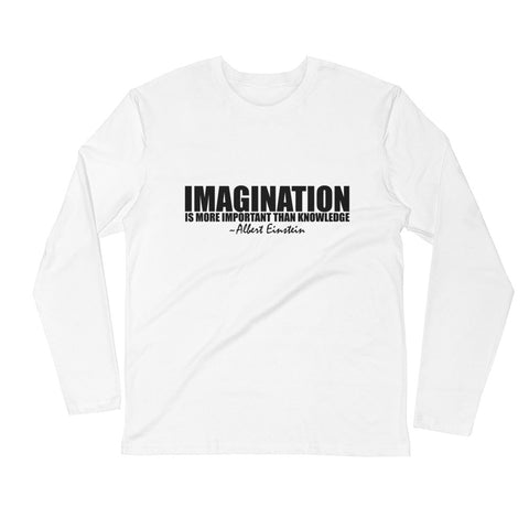 Imagination is More Important than Knowledge Black Graphic Long Sleeve Fitted Crew