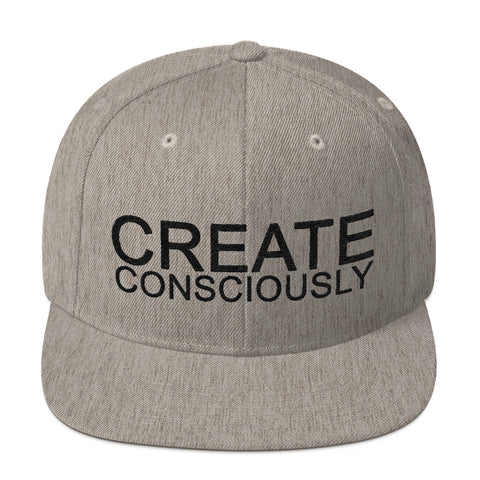 Create Consciously Black Graphic Snapback Hat