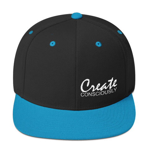 Create Consciously Small White Graphic Snapback Hat