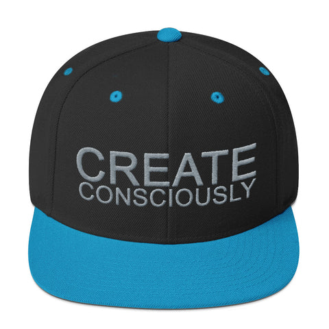 Create Consciously Grey Graphic Snapback Hat