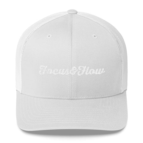 Focus & Flow Signature White Graphic Retro Trucker Cap