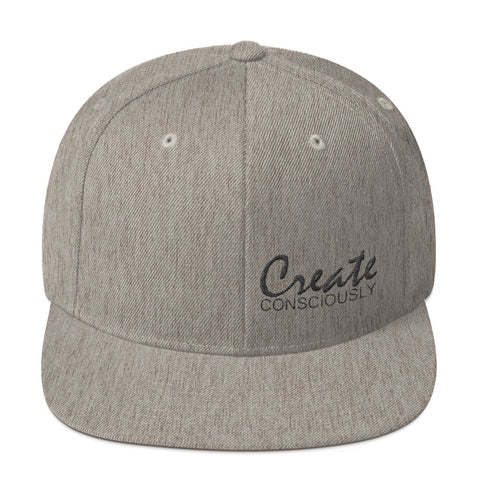 Create Consciously Small Black Graphic Snapback Hat