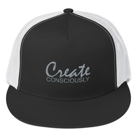 Create Consciously Grey Graphic Trucker Cap