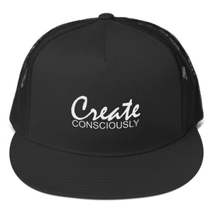 Create Consciously White Graphic Trucker Cap