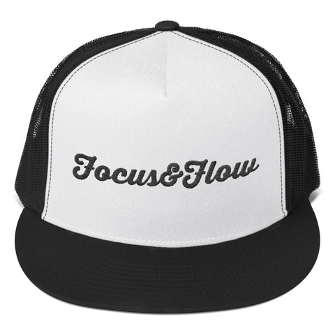 Focus & Flow Signature Black Graphic Trucker Cap