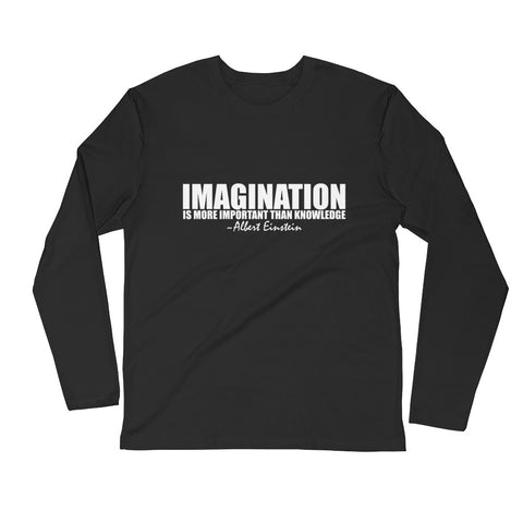 Imagination is More Important than Knowledge White Graphic Long Sleeve Fitted Crew