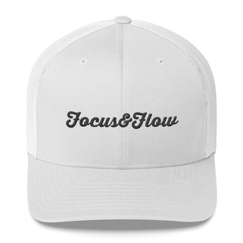 Focus & Flow Signature Black Graphic Retro Trucker Cap