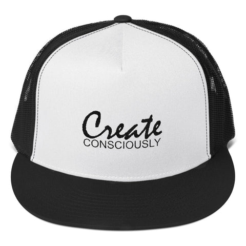 Create Consciously Black Graphic Trucker Cap