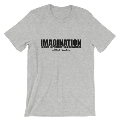 Imagination is More Important than Knowledge Black Graphic Short-Sleeve Unisex T-Shirt