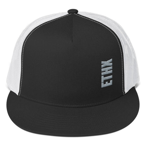 "Vertical ""ETHX"" Grey Graphic Trucker Cap"