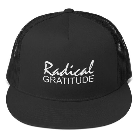 Radical Gratitude White Graphic Trucker Cap