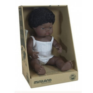 MINILAND Doll - Anatomically Correct Baby - African Boy 38cm