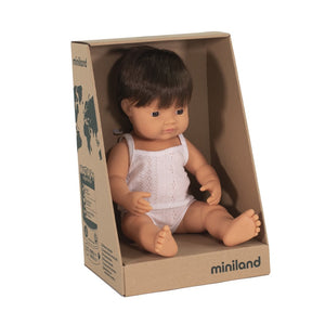 MINILAND Doll - Anatomically Correct Baby - Caucasian Brunette Boy 38cm