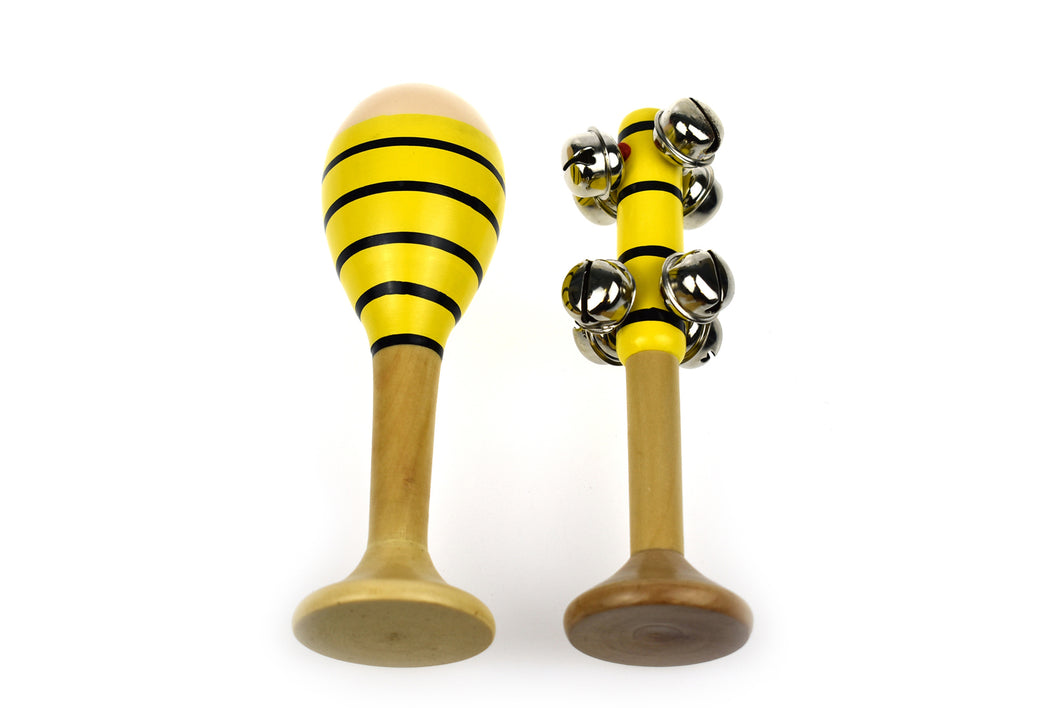 Maraca and Bell stick Set - Bee