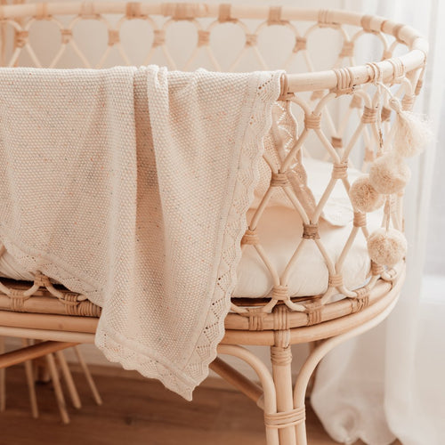 By Ziggy Lou - Heirloom Knit Blanket - Oatmeal Fleck