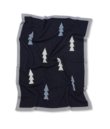Kenzi Living - Trees Blanket - Navy