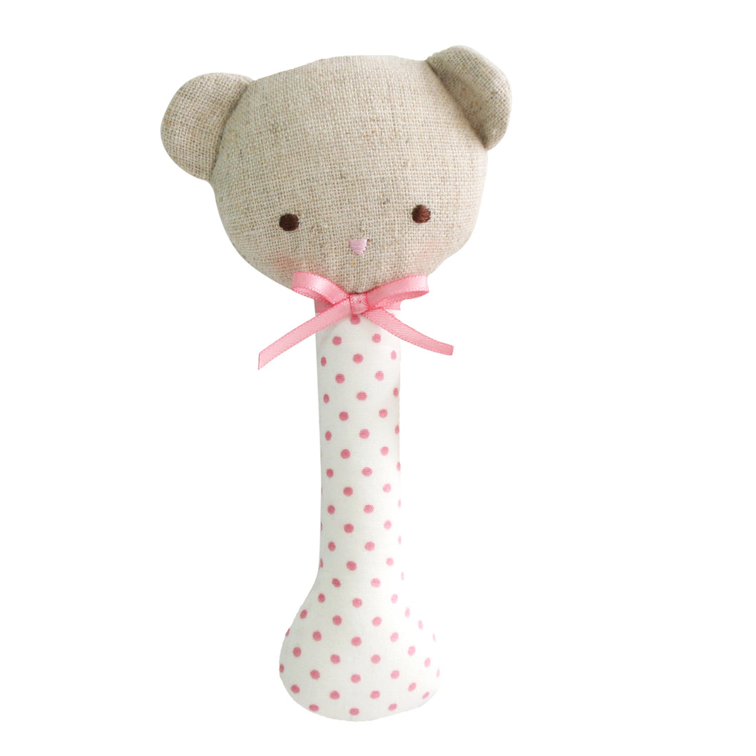 Baby Bear Stick Rattle - Spot Pink on Ivory